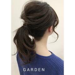 イルミナカラー ポニーテール セミロング 簡単ヘアアレンジ ヘアスタイルや髪型の写真・画像