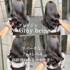 アッシュグレージュ ナチュラル ツヤ髪 ブリーチなし ヘアスタイルや髪型の写真・画像