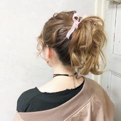 ポニーテール 簡単ヘアアレンジ ガーリー デート ヘアスタイルや髪型の写真・画像