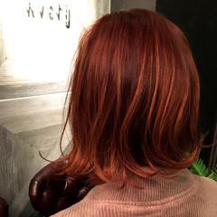 ストリート オレンジ ハイライト 抜け感 ヘアスタイルや髪型の写真・画像