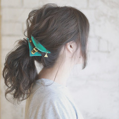 簡単ヘアアレンジ セミロング 夏 パーティ ヘアスタイルや髪型の写真・画像
