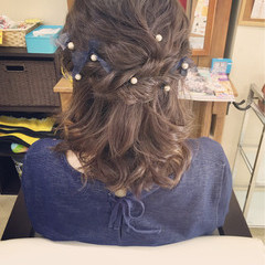 ゆるふわ ヘアアレンジ ミディアム フェミニン ヘアスタイルや髪型の写真・画像