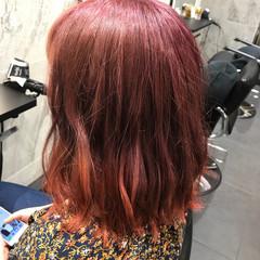 ガーリー パープル オレンジ ボルドー ヘアスタイルや髪型の写真・画像