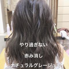 ゆるふわパーマ セミロング アッシュグレージュ イルミナカラー ヘアスタイルや髪型の写真・画像