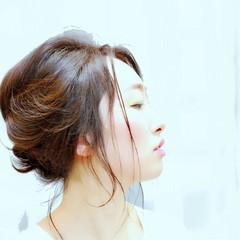 アップスタイル ヘアアレンジ ロング 暗髪 ヘアスタイルや髪型の写真・画像