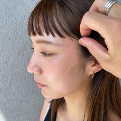 前髪アレンジ ナチュラル オン眉 前髪あり ヘアスタイルや髪型の写真・画像