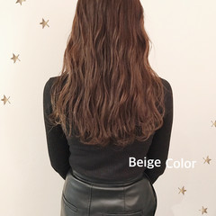 大人可愛い 大人女子 ベージュ ロング ヘアスタイルや髪型の写真・画像
