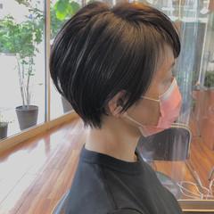小顔ショート ナチュラル 白髪染め ショート ヘアスタイルや髪型の写真・画像