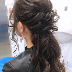 ロング ゆるふわ ハーフアップ 簡単ヘアアレンジ ヘアスタイルや髪型の写真・画像