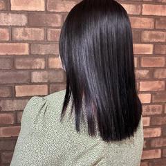縮毛矯正 インナーカラー ミディアム ナチュラル ヘアスタイルや髪型の写真・画像