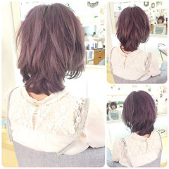 ミディアム ガーリー ブリーチ ラベンダーピンク ヘアスタイルや髪型の写真・画像
