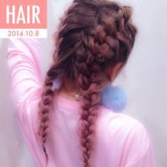ストレート 三つ編み グラデーションカラー ヘアアレンジ ヘアスタイルや髪型の写真・画像