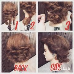 波ウェーブ 結婚式 セミロング 三つ編み ヘアスタイルや髪型の写真・画像