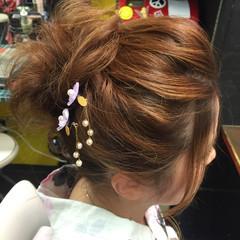 セミロング ゆるふわ アップスタイル フェミニン ヘアスタイルや髪型の写真・画像