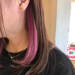デザインカラー セミロング インナーカラー ストリート ヘアスタイルや髪型の写真・画像