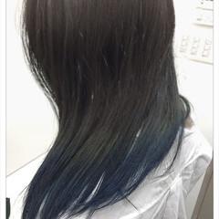 ストリート ブルーアッシュ グラデーションカラー ブルー ヘアスタイルや髪型の写真・画像