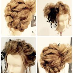 編み込み 夏 花火大会 ロング ヘアスタイルや髪型の写真・画像
