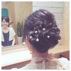 編み込み 大人かわいい アップスタイル 結婚式 ヘアスタイルや髪型の写真・画像