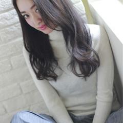 外国人風 フェミニン 黒髪 ロング ヘアスタイルや髪型の写真・画像