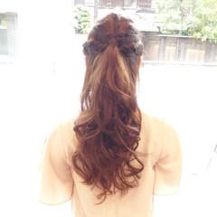 ハーフアップ ショート フェミニン ロング ヘアスタイルや髪型の写真・画像
