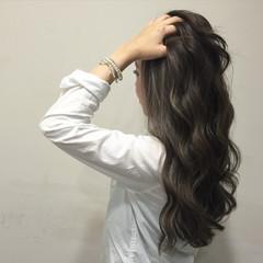 ガーリー グレージュ グラデーションカラー ハイライト ヘアスタイルや髪型の写真・画像