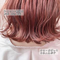 ミディアム ラズベリーピンク ピンクベージュ ピンクバイオレット ヘアスタイルや髪型の写真・画像