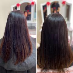 髪質改善トリートメント セミロング 髪質改善 フェミニン ヘアスタイルや髪型の写真・画像