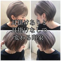 グレージュ アンニュイほつれヘア ショート ナチュラル ヘアスタイルや髪型の写真・画像