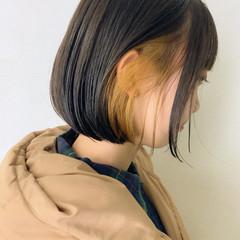 ボブ インナーカラー ショートボブ インナーカラーオレンジ ヘアスタイルや髪型の写真・画像