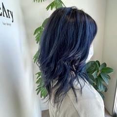 暗髪 ブルーブラック 暗髪バイオレット 暗色カラー ヘアスタイルや髪型の写真・画像