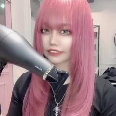 ピンク ガーリー ラベンダーピンク ブリーチカラー ヘアスタイルや髪型の写真・画像