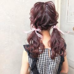 ガーリー 簡単ヘアアレンジ セミロング デート ヘアスタイルや髪型の写真・画像