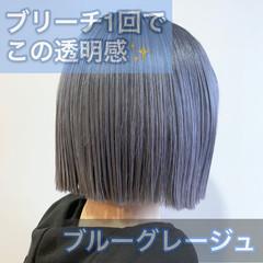 ミニボブ ブリーチ 切りっぱなしボブ ストリート ヘアスタイルや髪型の写真・画像