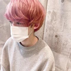 ストリート ピンク ピンクアッシュ メンズカラー ヘアスタイルや髪型の写真・画像