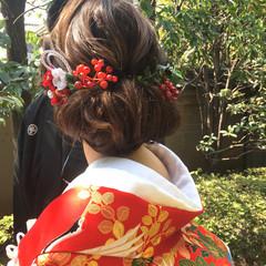 結婚式 シニヨン ヘアセット エレガント ヘアスタイルや髪型の写真・画像