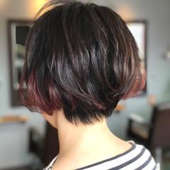 ナチュラル ボブ モード ピンク ヘアスタイルや髪型の写真・画像