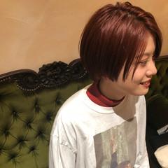 ダメージレス 赤髪 ショート ショートボブ ヘアスタイルや髪型の写真・画像