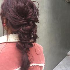 ストリート ピンク ヘアアレンジ レッド ヘアスタイルや髪型の写真・画像