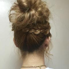 ゆるふわ セミロング ヘアアレンジ 簡単ヘアアレンジ ヘアスタイルや髪型の写真・画像