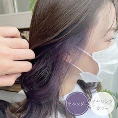 バイオレットカラー ロング パープルカラー エレガント ヘアスタイルや髪型の写真・画像