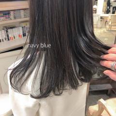 ブルーブラック ナチュラル ロング 就活 ヘアスタイルや髪型の写真・画像