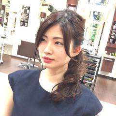セミロング ハーフアップ ヘアアレンジ 大人女子 ヘアスタイルや髪型の写真・画像