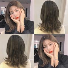 渋谷系 オルチャン ミディアム 大人かわいい ヘアスタイルや髪型の写真・画像