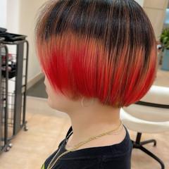 レッド 赤髪 レッドカラー ボブ ヘアスタイルや髪型の写真・画像