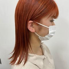 アプリコットオレンジ アプリコット ナチュラル オレンジ ヘアスタイルや髪型の写真・画像