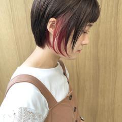 グラデーションカラー 外ハネボブ ショートボブ 切りっぱなしボブ ヘアスタイルや髪型の写真・画像