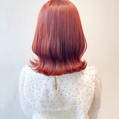 ブリーチなし オレンジ ミディアム ナチュラル ヘアスタイルや髪型の写真・画像