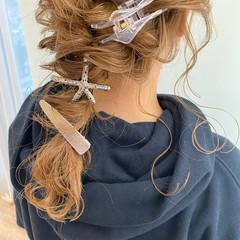 結婚式ヘアアレンジ セミロング 簡単ヘアアレンジ ベージュ ヘアスタイルや髪型の写真・画像