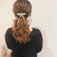 フェミニン ローポニーテール セミロング ポニーテールアレンジ ヘアスタイルや髪型の写真・画像