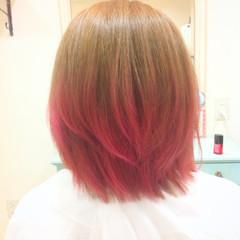 ピンク 渋谷系 グラデーションカラー ボブ ヘアスタイルや髪型の写真・画像